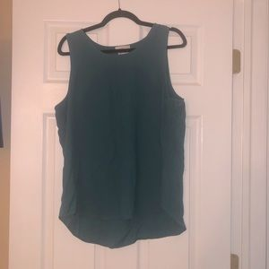 Teal scoop neck polyester tank blouse